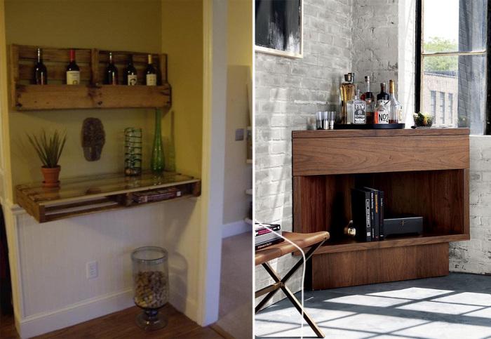 Небольшой мини-бар, обустроенный в углу, - прекрасная идея для маленьких помещений.