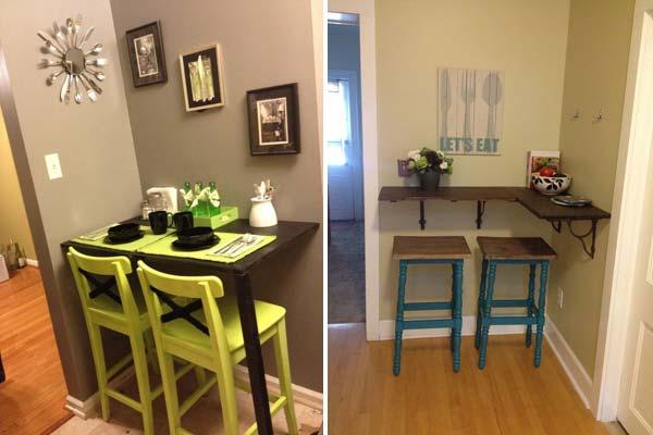 Если кухня уж очень маленьких размеров, обеденный стол можно расположить и в углу.