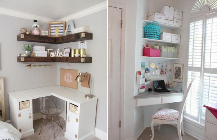 В углу можно прекрасно обустроить пространство для мини-офиса.