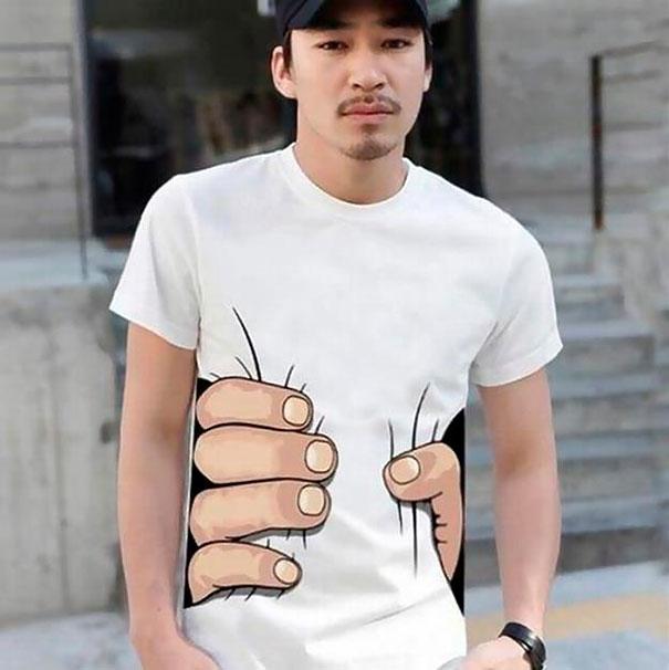 Оригинальная футболка для тех, кто хочет казаться стройнее.