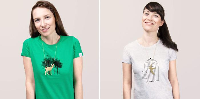Эти необычные футболки следует носить с подходящими к принтам аксессуарами.