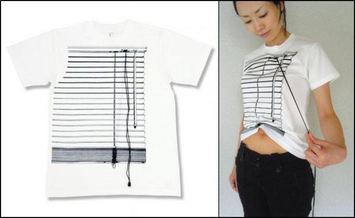 Необычная футболка-жалюзи, открывающая живот.