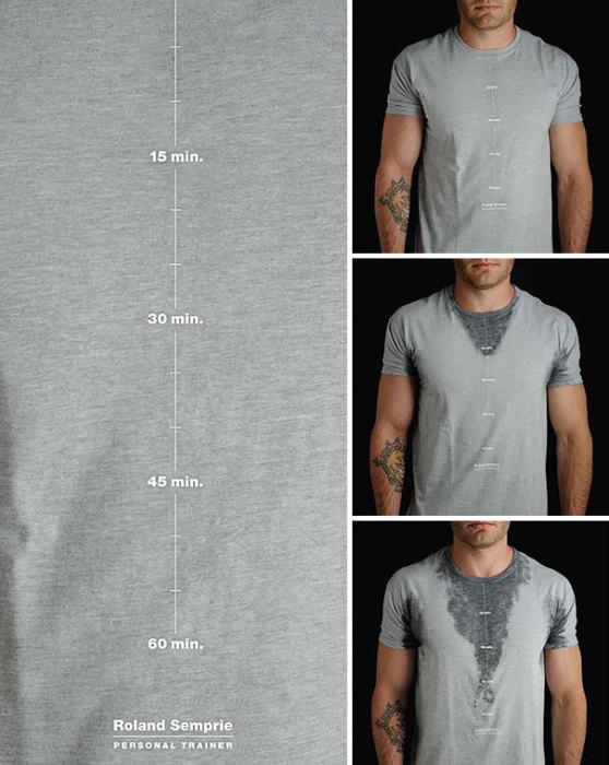 Полезная футболка, демонстрирующая, насколько усердно тренировался спортсмен.