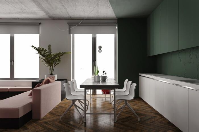 А еще диван может послужить границей между гостиной и кухней с обеденной зоной.
