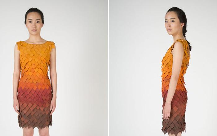 Birce Ozkan (Озкан) - дизайнер из Нью-Йорка, которая создала потрясающее платье-листопад.