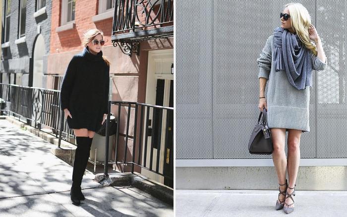 Платье-свитер - незаменимая вещь для морозной зимы.