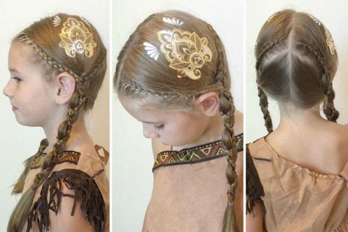 Временные татуировки для волос золотистого и серебристого цвета - новый осенний бьюти-тренд.