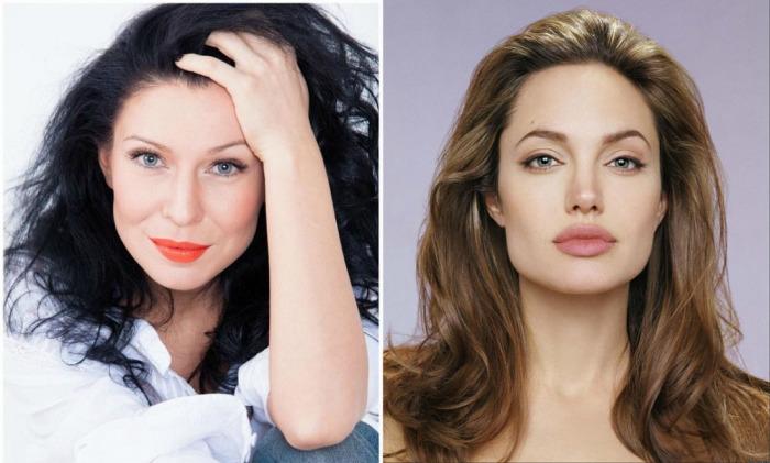 Украинская певица Ёлка и американская актриса Анджелина Джоли с объемными укладками.