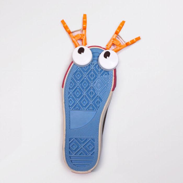Причудливый лобстер, которого дизайнер Лэн Тхань сделала из своей новой пары обуви.