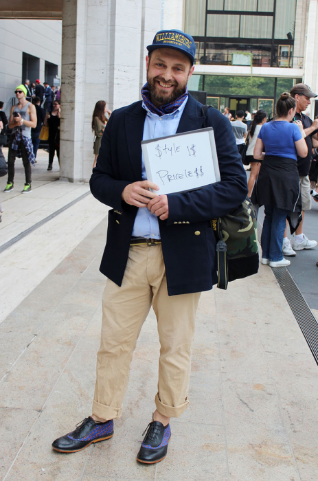 Этот парень считает, что стиль бесценен.