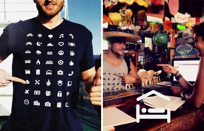 Потрясающая футболка, которая помогает путешественникам, не знающим иностранного языка, адаптироваться в любой стране мира.