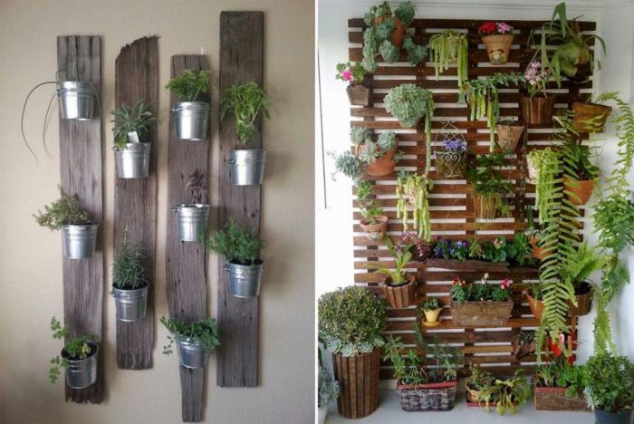 Домашние цветы в горшочках можно разместить на стенах при помощи обычных деревянных досок.
