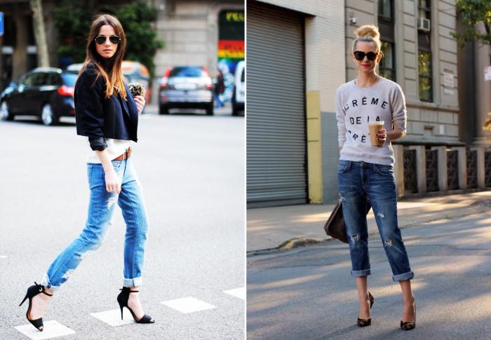 Кэжуал-стиль с подвернутыми джинсами.