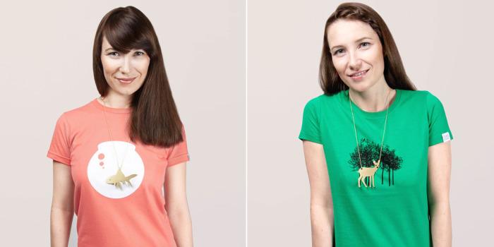 Украшения для футболок с подходящими принтами.