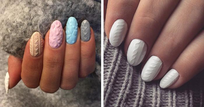 «Вязаный» маникюр - новый тренд, для тех, кто хочет носить свитер даже на ногтях.