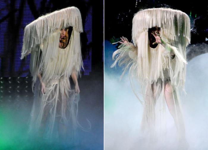 Платье-волосы на Леди Гаге.