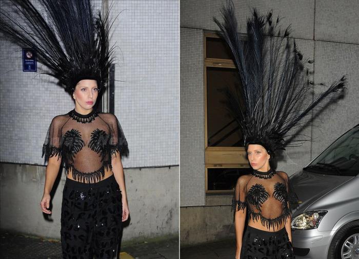 Леди Гага в перьях.