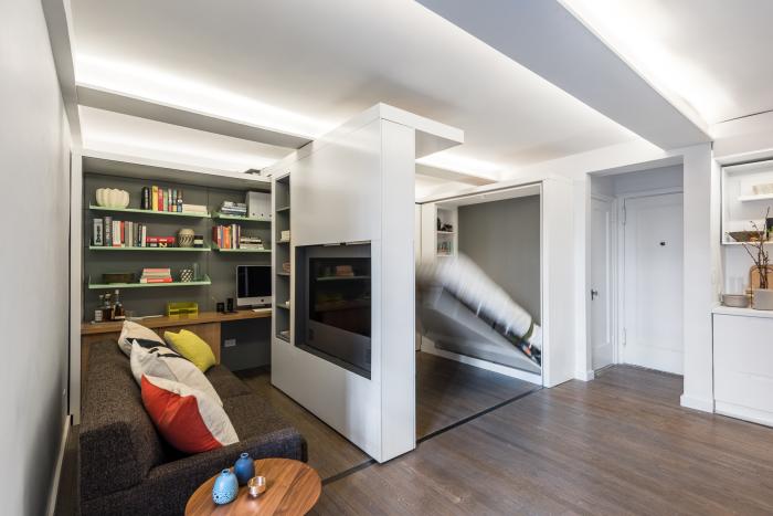 Малогабаритная квартира, которая благодаря трансформациям превращается в полноценные апартаменты.