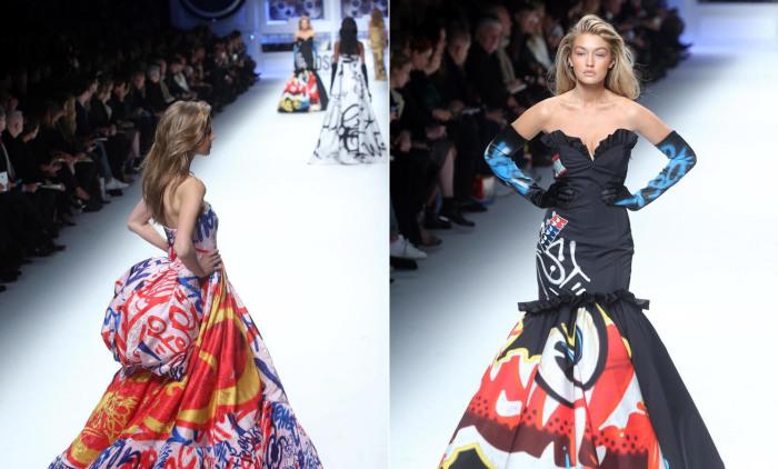 Модели в шикарных длинных платьях из тканей с рисунками в стиле граффити