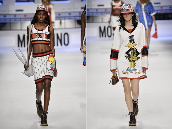 Одежду моделей в баскетбольном стиле украшали принты с изображениями любимых мультяшных героев