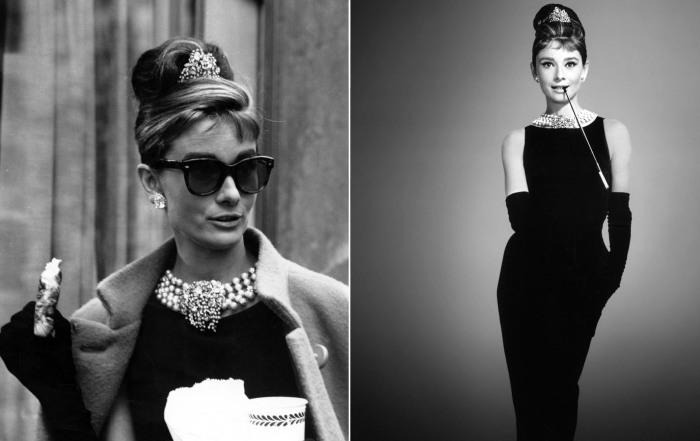 Восхитительная актриса Одри Хепберн в роли наивной и эксцентричной Холли Голайтли из фильма Завтрак у Тиффани (1961 год).