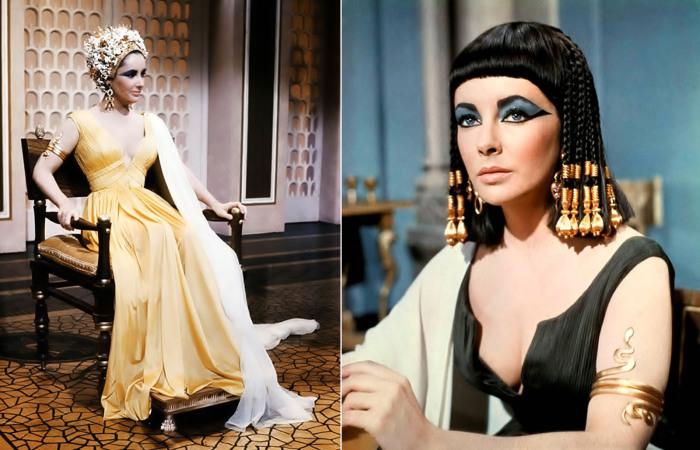 Непревзойденная актриса Элизабет Тейлор в роли величественной Клеопатры (Клеопатра, 1963 год).