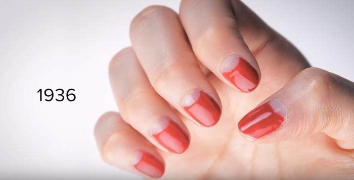 В тридцатые годы двадцатого века ногти начали красить ярко-красным лаком.
