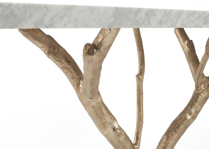 Мраморный стол на ножках-ветках.