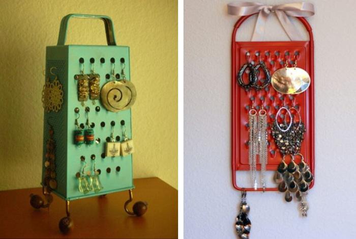 Старая тёрка - отличная вещь для хранения украшений и аксессуаров.