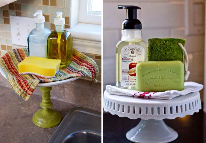 На старой подставке для торта можно расположить разные принадлежности как на кухне, так и в ванной комнате.