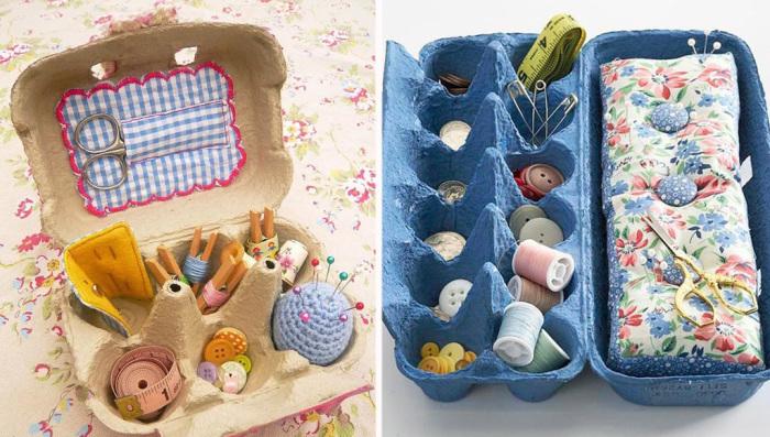 Принадлежности для шитья удобно хранить в бумажных лотках от яиц.