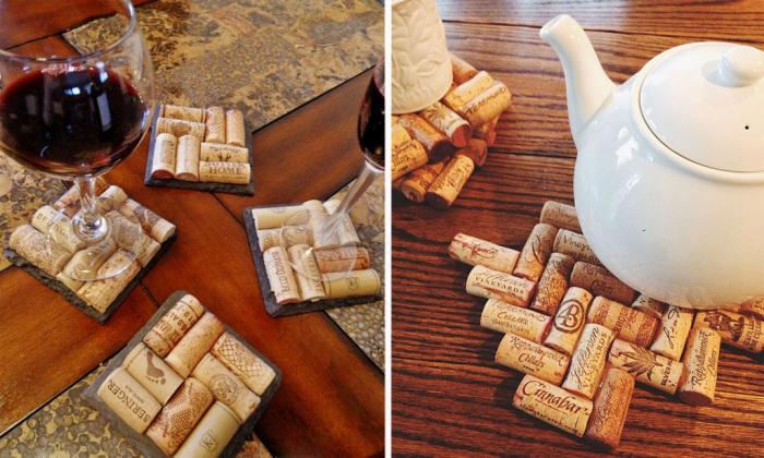Из пробок от вина можно сделать подставки под горячую и холодную посуду.