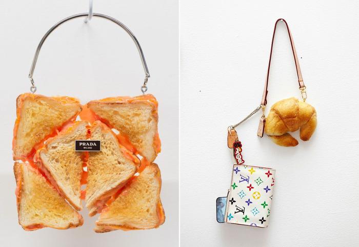 Съедобные брендовые сумки из хлебобулочных изделий.