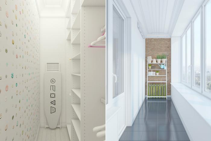Озорной дизайн гардеробной комнаты и балкона.