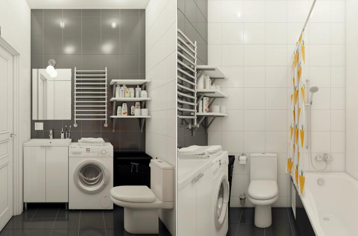 Черно-белый санузел, в котором помещаются ванная, унитаз, раковина, полотенцесушитель, стеллажи для хранения туалетных принадлежностей, стиральная машина и корзина для белья.