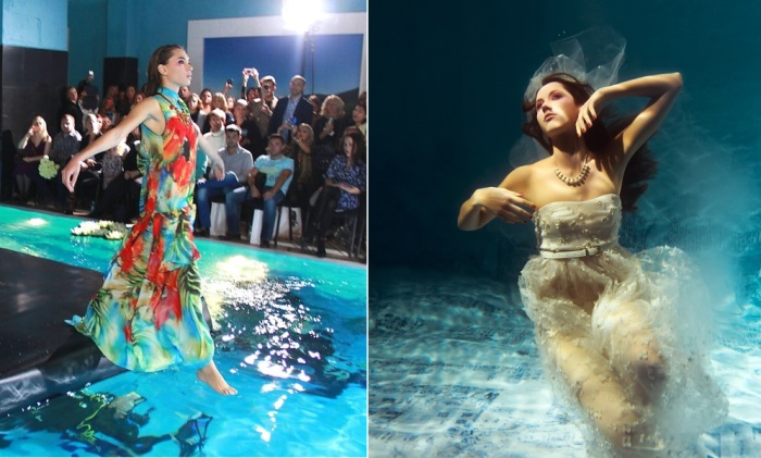 Дизайнер из России устроила дефиле под водой.