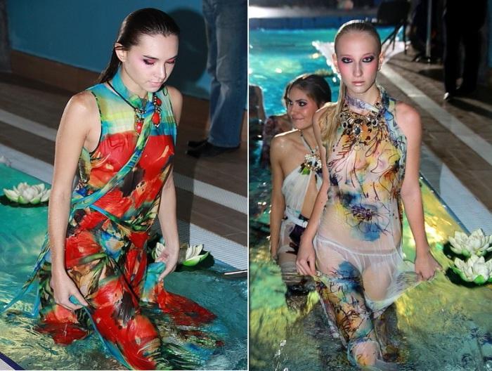 Модели демонстрировали шикарные платья от российского дизайнера Яны Недзвецкой (Jana Nedzvetskaya) под водой.