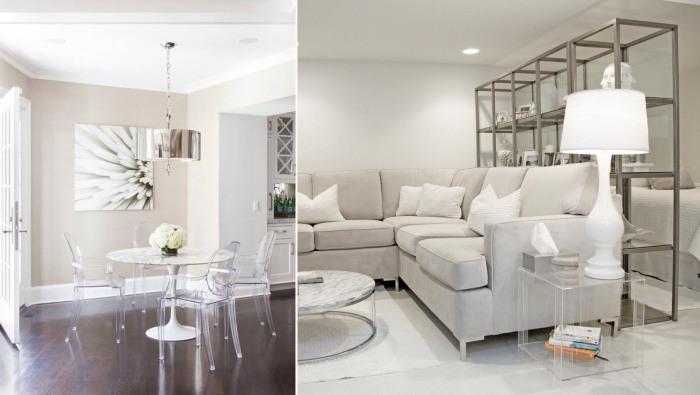 Прозрачные стулья и столики из пластмассы, стекла или поликарбоната незаметны, но функциональны.