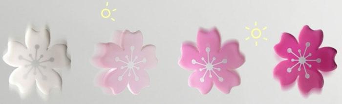 Удивительные украшения в виде цветков японской вишни меняют свой цвет в зависимости от освещения.