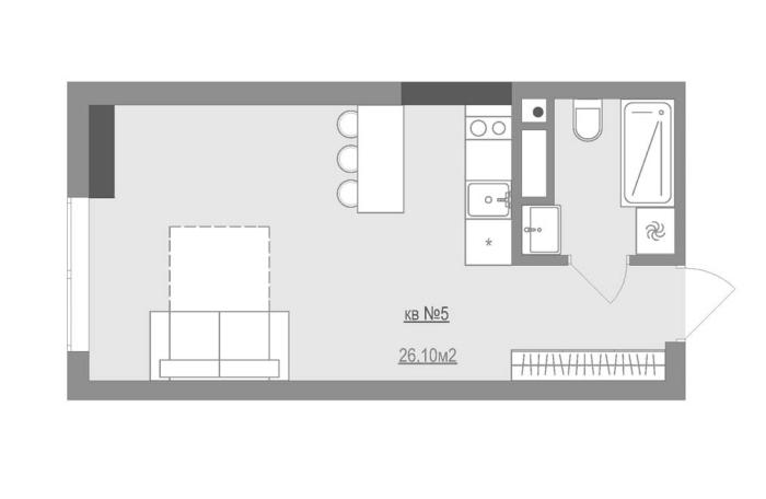 План небольшой квартиры-студии, площадь которой 26, 10 квадратных метров.