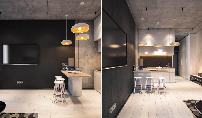 Белый кухонный гарнитур смотрится очень стильно и делает обеденную зону более светлой.