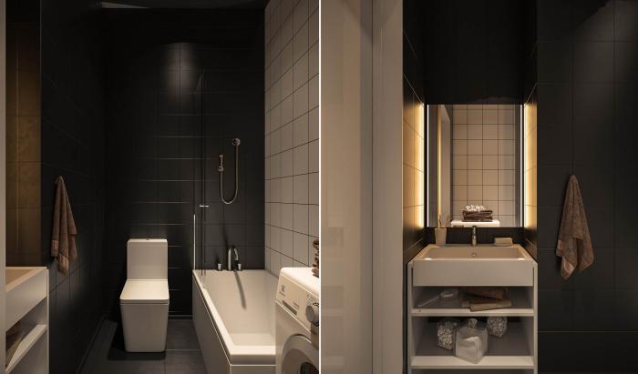 Черно-белый санузел, в котором размещены ванная, унитаз, раковина с полками и стиральная машинка.