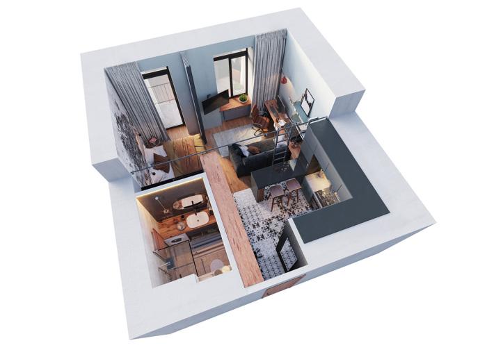 Схема квартиры-студии, площадь которой всего 29 квадратных метров.