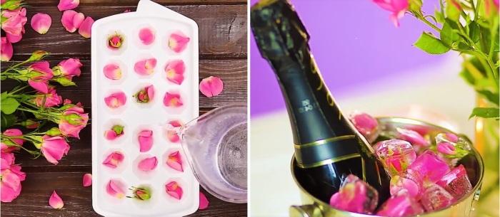 Для красивого охлаждения напитков можно сделать лёд с лепестками цветов.