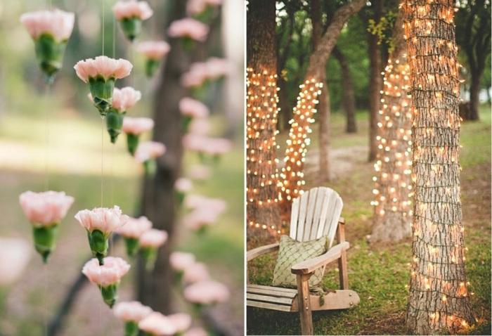 Гирлянды для летней вечеринки на природе могут быть сделаны из чего угодно: начиная с живых цветов и заканчивая электрическими лампочками.