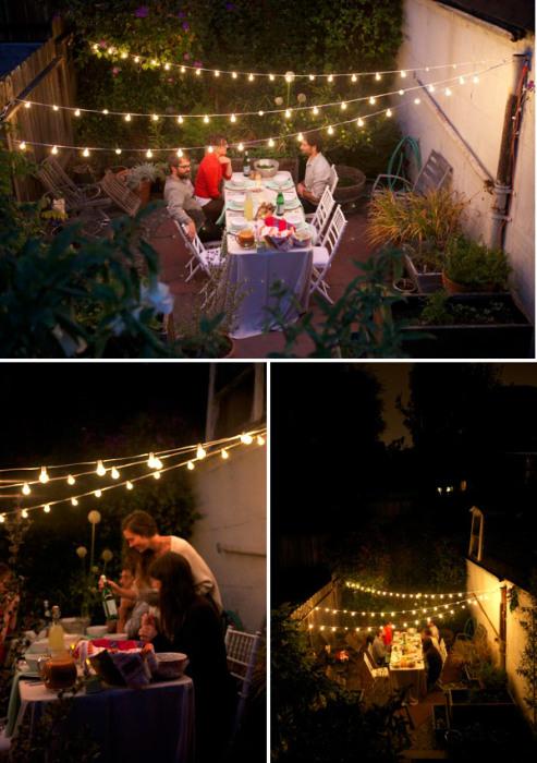 Гирлянды из электрических лампочек здорово выручают в вечернее время, когда природного освещения уже не хватает.