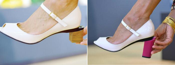 Каждая модница может экспериментировать и создавать оригинальные и неповторимые модели туфель, ведь Таня Хит (Tanya Heath) предлагает своим клиенткам очень большой выбор различных каблуков.