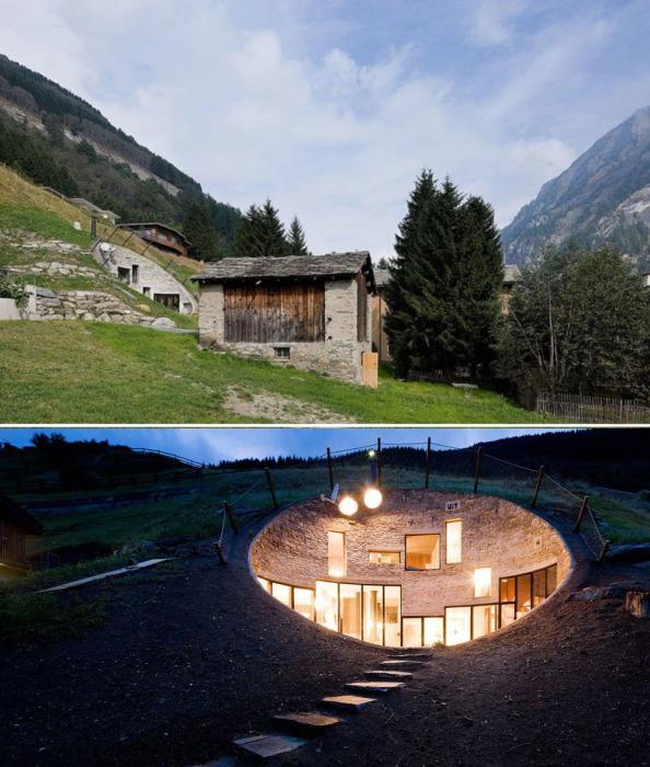 Подземный дом в Швейцарских Альпах.