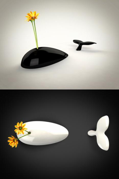 Интересная ваза в форме кита, состоящая из двух частей.