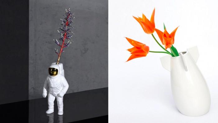 Вазы на космическую тематику: в форме космонавта и ракеты.